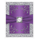 Purple and FAUX Silver Foil Floral RSVP Card 11 Cm X 14 Cm Invitation Card