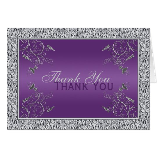 Purple and FAUX Silver Foil Floral Thank You