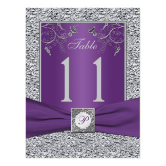 Purple and FAUX Silver Foil Table Number Card Postcard
