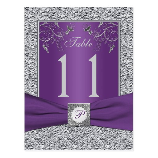 Purple and FAUX Silver Foil Table Number Card Post Card