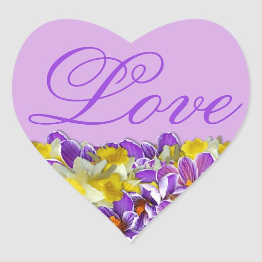 Purple and Floral Spring Heart-Shaped Love Sticker