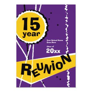 "Purple and Gold 15 Year Class Reunion Invitation 5"" X 7"" Invitation Card"