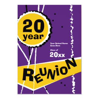 Purple and Gold 20 Year Class Reunion Invitation
