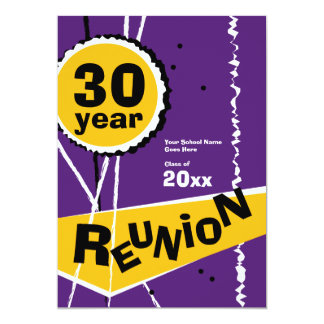Purple and Gold 30 Year Class Reunion Invitation