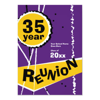 Purple and Gold 35 Year Class Reunion Invitation