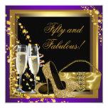 Purple and Gold 50th Birthday Party 13 Cm X 13 Cm Square Invitation Card