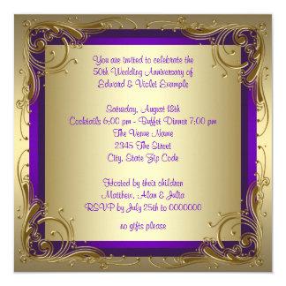 Purple and Gold 50th Wedding Anniversary Party 13 Cm X 13 Cm Square Invitation Card