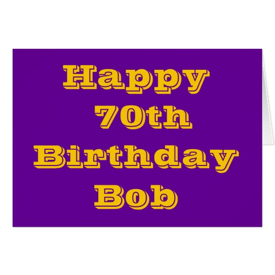 Purple and Gold 70th Personalised Birthday Card