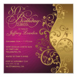 Purple and Gold 80th Birthday Party Invitation