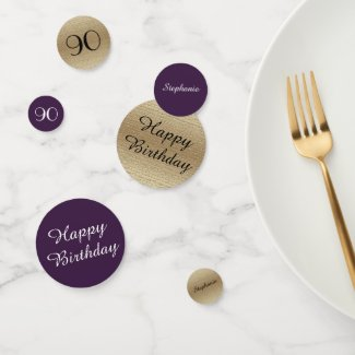 Purple and Gold 90th Birthday Table Decoration Confetti