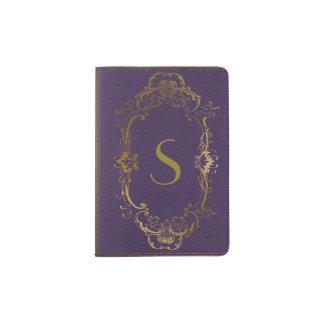 Purple and Gold Antique Look Passport Holder