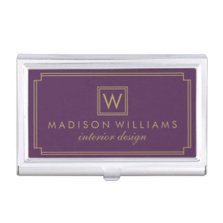 Purple and Gold Art Deco Monogram Business Card Holder