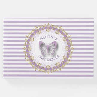 Purple and Gold Baby Personalised Shower Guestbook