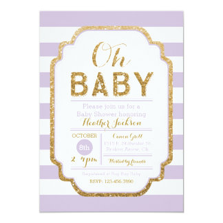 Purple And Gold Baby Shower Invitation, Baby Girl Card