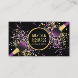 Purple and gold business cards business card printing zazzle uk purple and gold blush confetti makeup artist business card colourmoves