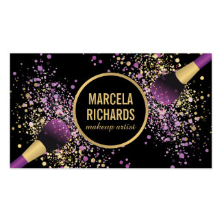 Purple and Gold Blush Confetti Makeup Artist Pack Of Standard Business Cards