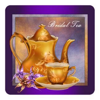 Purple and Gold Bridal Tea Party 5.25x5.25 Square Paper Invitation Card