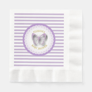 Purple and Gold Butterflies Luncheon Napkins Disposable Napkin