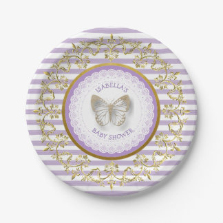 Purple and Gold Butterfly Baby Shower Plates