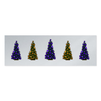Purple and Gold Christmas Tree Slim Gift Tag Business Card Template