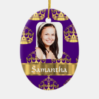 Purple and gold crown christmas ornament