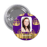 Purple and gold crown personalised photo 3 cm round badge