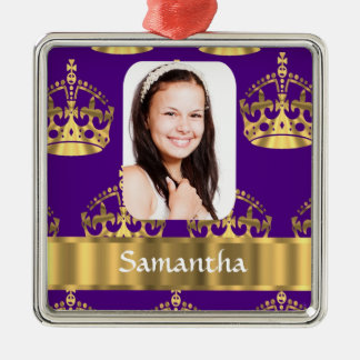 Purple and gold crown photo template christmas ornament