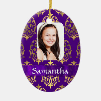 Purple and gold damask christmas ornaments