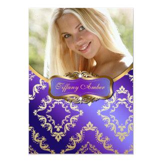Purple and Gold Damask Photo Invite