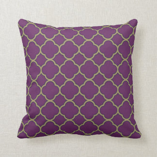 Purple and Gold Deep Flora Quatrefoil Decorative Cushion