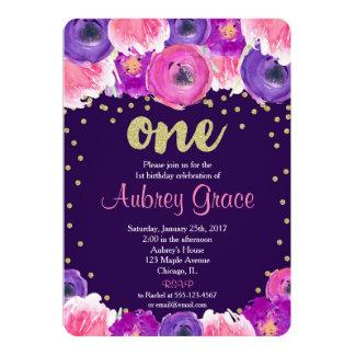 purple and gold first birthday invitation