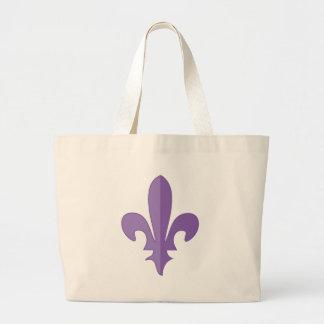 Purple and Gold fleur de lis Tote Bags