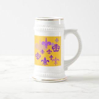 Purple and Gold Fleur de Lis Beer Stein Mugs