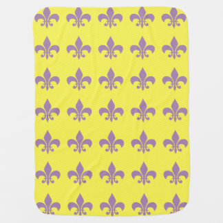 Purple and Gold Fleur De Lis Burp Baby Blanket