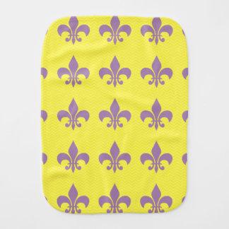 Purple and Gold Fleur De Lis Burp Bib