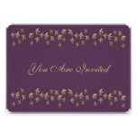 Purple and Gold Fleur de Lis Confetti Personalized Announcements