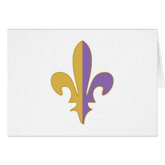 Purple and Gold fleur de lis gifts Greeting Cards