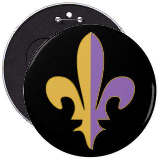 Purple and Gold fleur de lis gifts Pinback Buttons