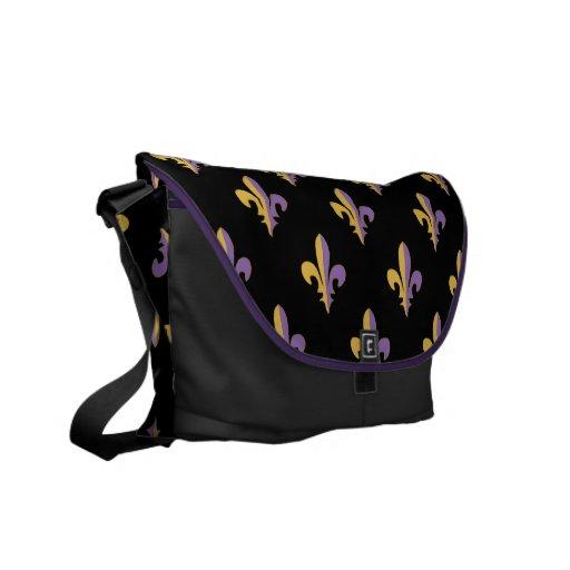 Purple and Gold fleur de lis Mediium Messenger Bag