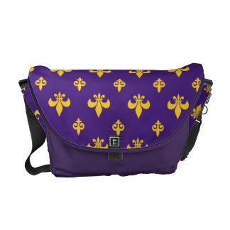 Purple and Gold Fleur-de-lis  Messenger Bag