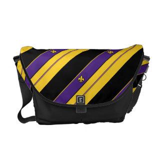 Purple and Gold Fleur-de-lis Pattern Commuter Bag