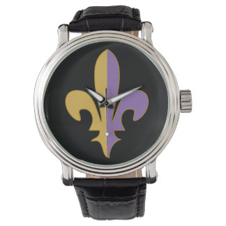 Purple and Gold fleur de lis watch