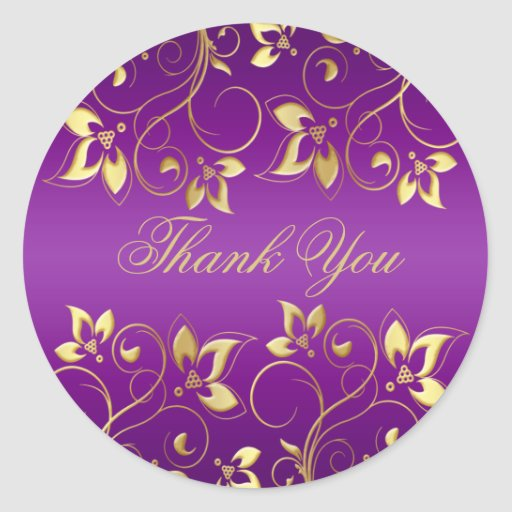 "Purple and Gold Floral 1.5"" Round Sticker"