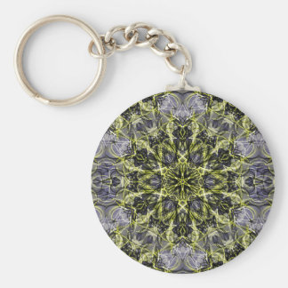 Purple and Gold Floral Keychain