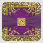 Purple and Gold Floral Monogram Wedding Sticker