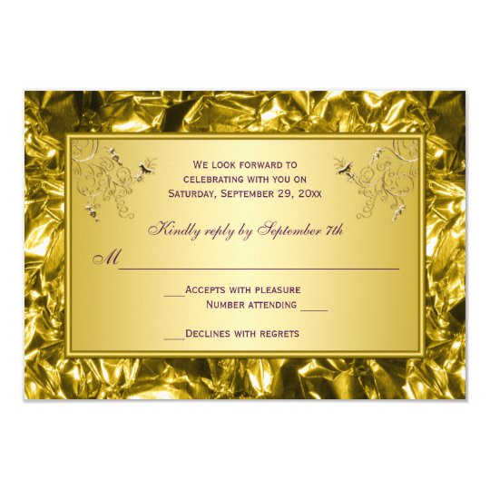 Purple and Gold Floral RSVP Card