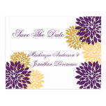 Purple and Gold Flower Petals Save The Date