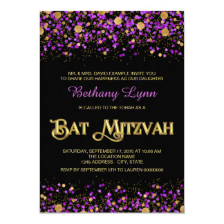 Purple and Gold Glitter Bat Mitzvah 13 Cm X 18 Cm Invitation Card