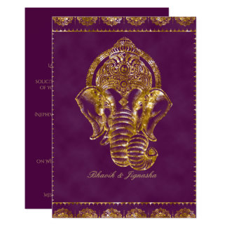 Purple and Gold Glitter Indian Wedding Invitation