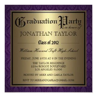 Purple and Gold Graduation 13 Cm X 13 Cm Square Invitation Card